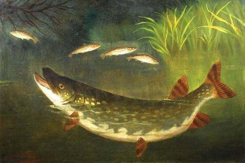 15C: Knight (A. Roland, fl.1810-1840) Pike hunting trou