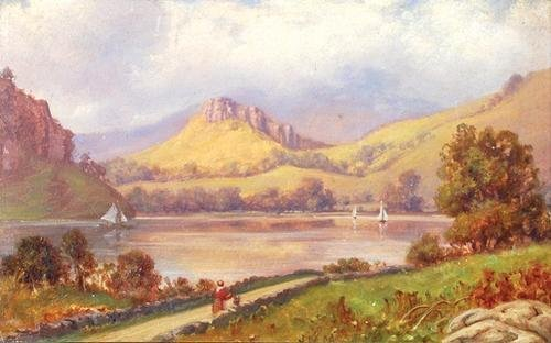 17C: MacIntosh (John) lake scene with mountains