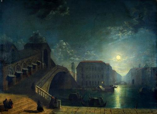 21C: Pether (H.) Moonlit view of the Rialto Bridge