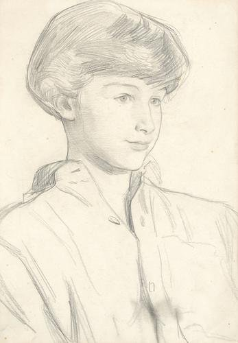 6B: Dame Laura Knight (1877-1970) portrait of a young