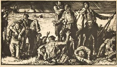 23: Frank Brangwyn, survivors coming ashore