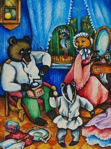 12: Bakhnova (Anna) The Bear, Fox and the Badger at ho