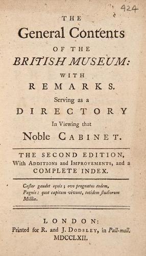 13: Dodsley.General Contents..British Museum