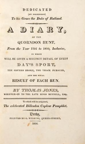 7: Jones (Thomas) A Diary..Quorndon Hunt,1816