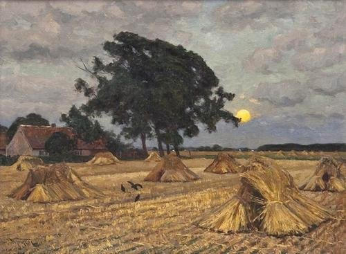 7: Wilhelm Fritzel (1870-1943) Harvested wheatfi