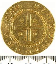 912: PhillipII (1598-1621), gold Four Cruzados, Ob. Cr