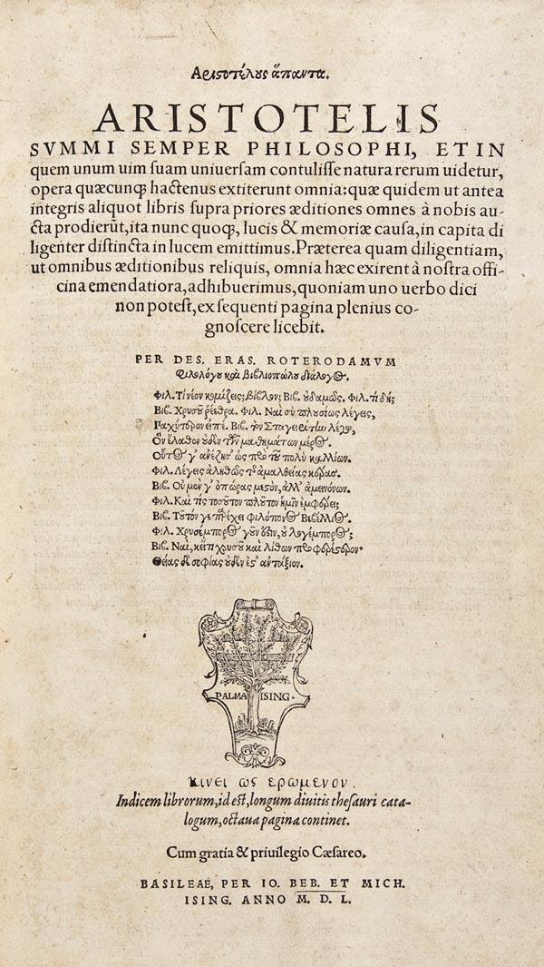 1009: Aristotle. Opera (Graece)