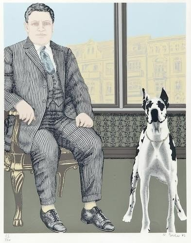 15: DDS Harald Becker (b.1940), Man and German Dog, si