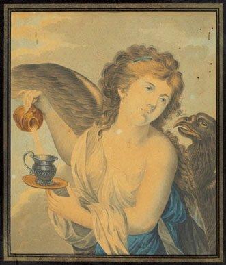 3B: half-length female figures in classical garb, pen