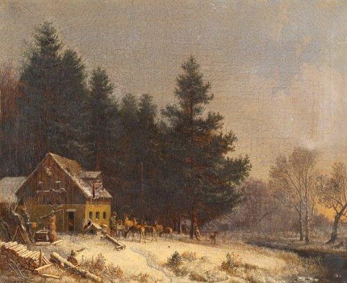 13B: Bürkel (Heinrich, 1802-1869) a woodman fills a fe