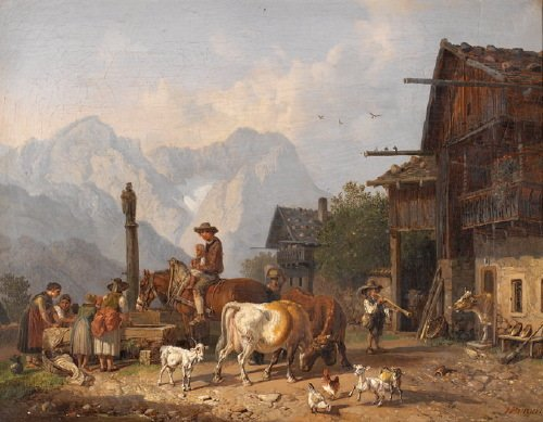 14B: Bürkel (Heinrich, 1802-1869) peasants and farm an