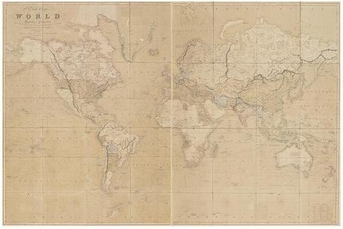 353: Teesdale (Henry) A New Chart of the World on Merca