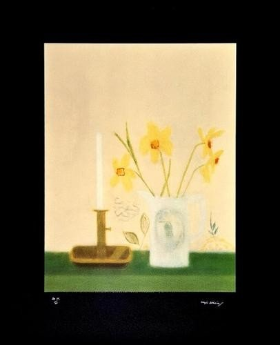 2: Craigie Aitchison (1926-2009) Daffodils and Candle