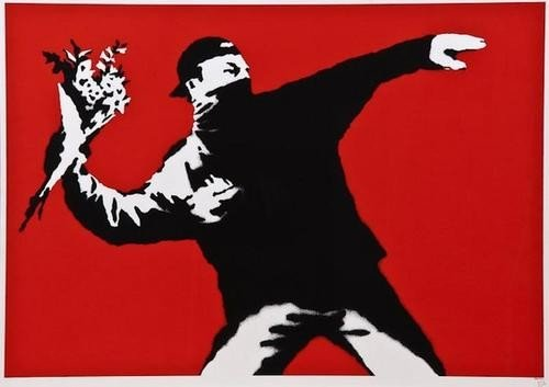 307: Banksy (b.1975) Love Is In The Air (Flower Thrower