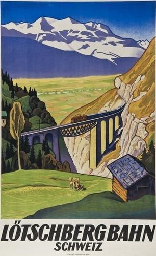 8: HENZIROSS, Eugen (1877-1961) L™TSCHBERG BAHN litho