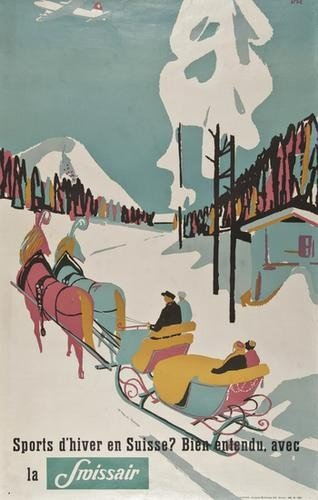11: OTT SWISSAIR lithograph in colours, printed by Jac