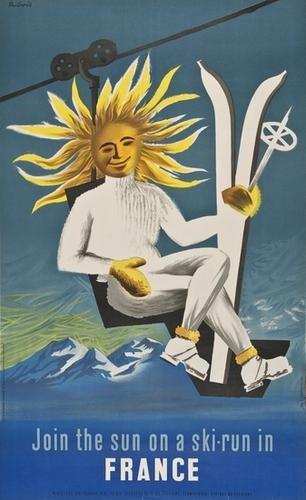 24: DUNOIS FRANCE, join the sun on the ski-run lithogr