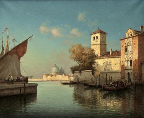 168: Hugo Golli, called Vallin (b.1921) Venice Quayside
