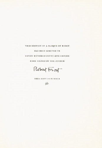 632D: Frost (Robert) A Masque of Mercy,