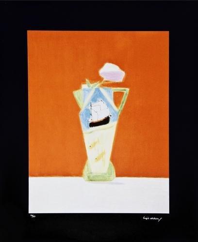 2: Craigie Aitchison (1926-2009) Still life on Vermil