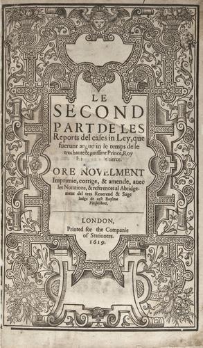 18: England: Yearbook. Le Second Part de les Reports d