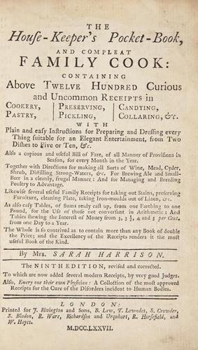 17: Harrison (Sarah) The House-Keeper's Pocket-Book, a