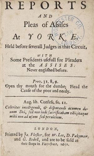 12: England and Wales. Assizes (York) Reports and Plea