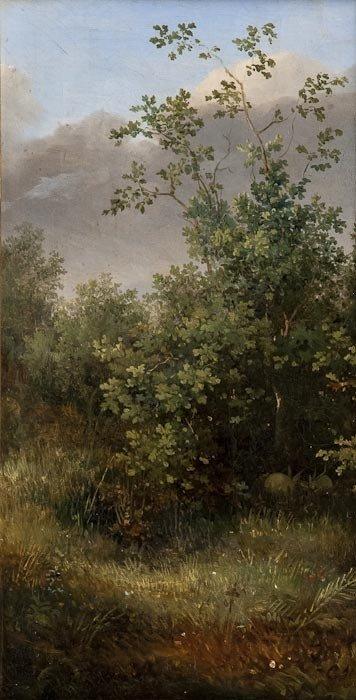 283: 19th century Continental School Rabbits in shrubbe