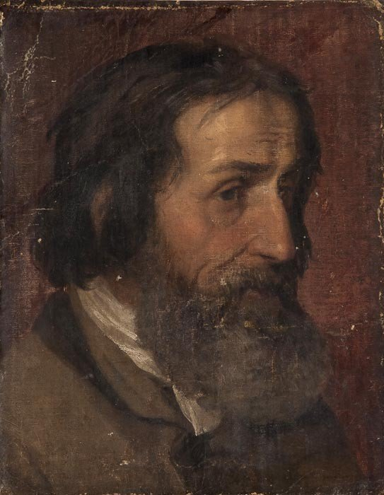 285: Attributed to William Dyce Head of a bearded man