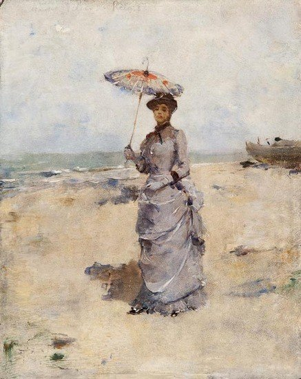 287: 20th century French School Woman with parasol stan