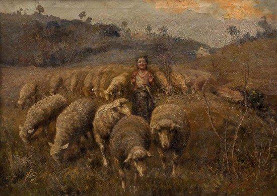 288: Francesco Paolo Michetti (1851-1929) Shepherdess w
