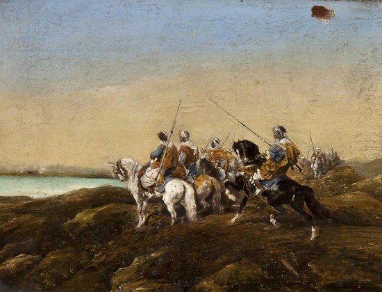 290: Adolf Schreyer (1828-1899) Arab Warriors on Horseb