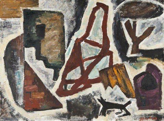 300: Mikhail Nikonov (b.1928) Landscape and Dog