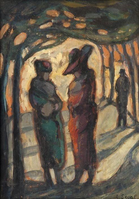 303: Arthur Segal (Romanian, 1857-1944) Figures in a wo