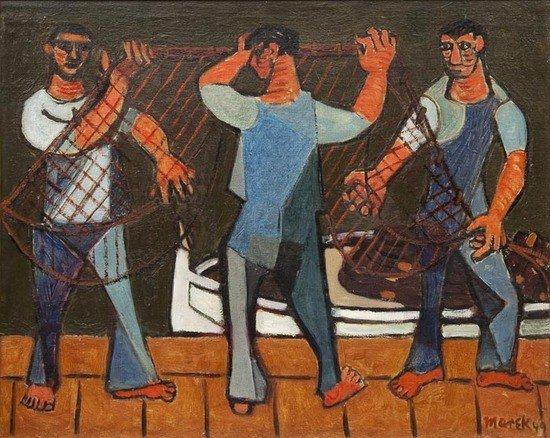 304: Marek Zulawski (Polish, 1908-1985) Fishermen prepa