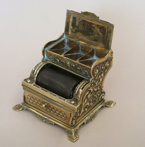 11A: BRASS STAMP-BOX AND DAMPER, 1880s-1890s