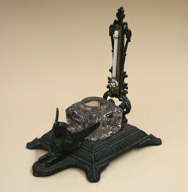 15A: CAST IRON PATENT INKSTAND & THERMOMETER, 1870