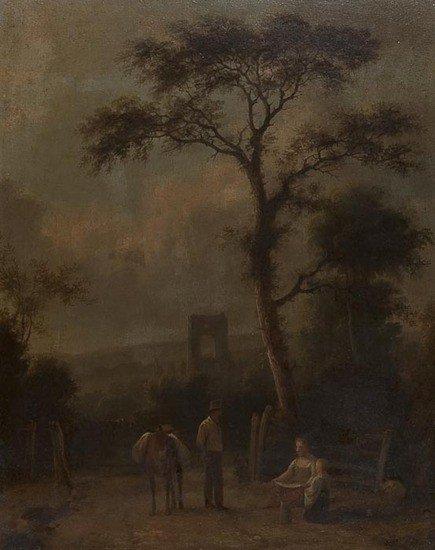 8: 19th century English School Rustic figures before