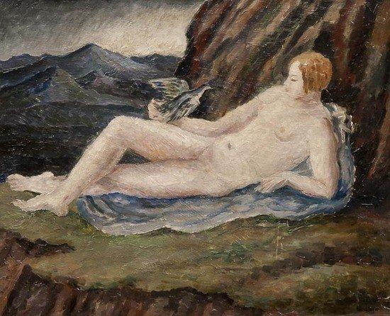 10: Dora Carrington (1893-1932) Reclinging nude with d