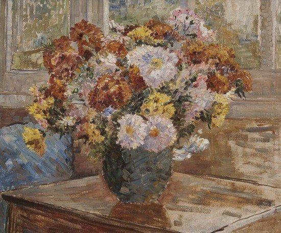 24: Dame Ethel Walker (1861-1951) Still life with flow