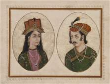 86 IndoPersian School 5 pairs of oval portrait minia