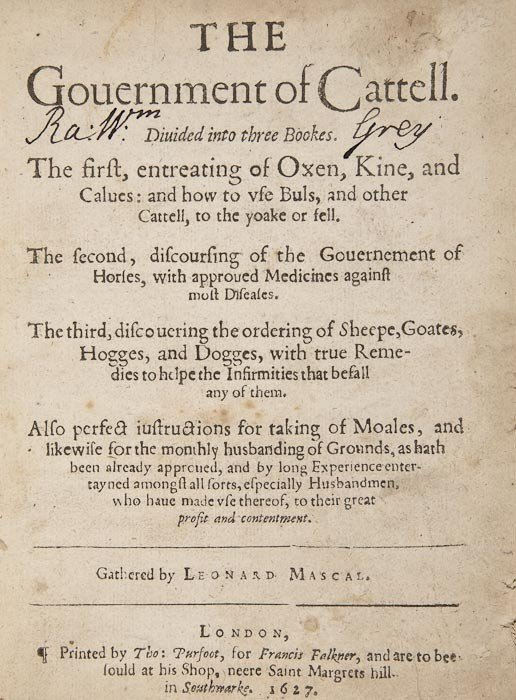 17: Mascall (Leonard) The Gouernment of Cattell