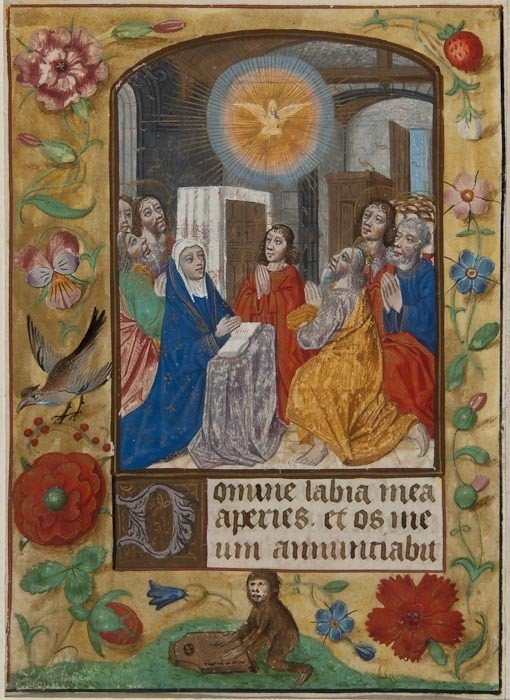 6: Pentecost, single leaf from a Book of Hours