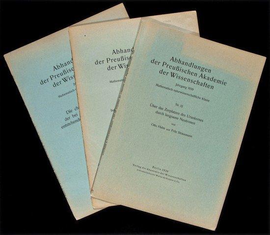 291: Hahn (Otto) and Fritz Strassmann. Über das Zerplat