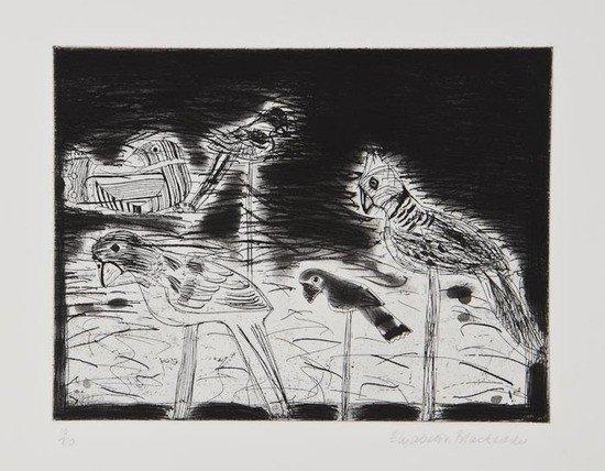 7: Elizabeth Blackadder (b.1931) Parrots; Indian Stil