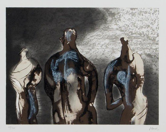 24: Henry Moore (1898-1986) Figures with Sky Backgroun
