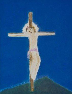 Craigie Aitchison (1926-2009) Crucifixion Green Hi