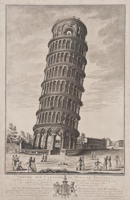 380: Antonio Verico Veduta del Campanile de Pisa in Tos