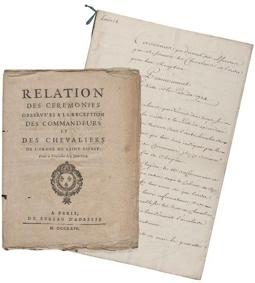 108: 1724 Relation des Ceremonies Observées a la Recept