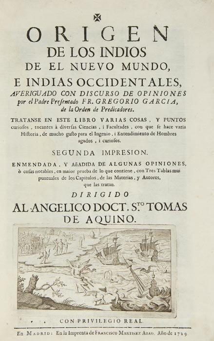109: Americas.- Garcia (Gregorio) Origen de los Indios